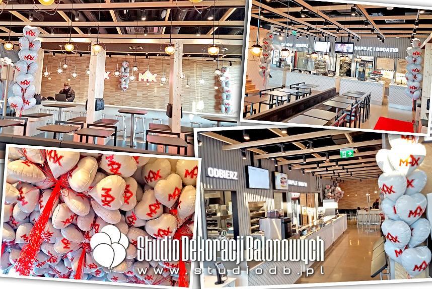 Balony foliowe z nadrukiem na otwarcie restauracji MAX Burgers w Wilanowie