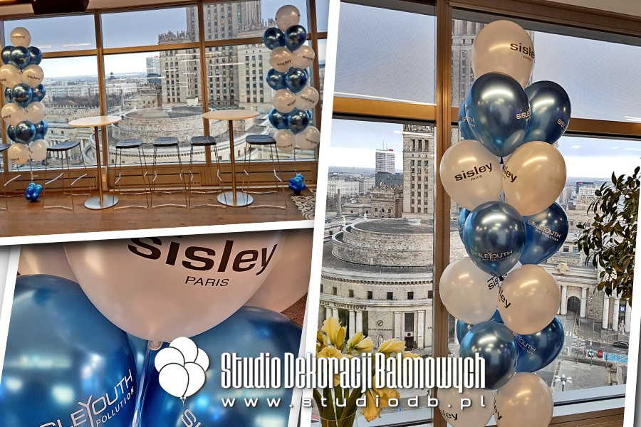 Bukiety z balonów chrome z helem i nadrukami jako dekoracja prezentacji dla marki Sisley.