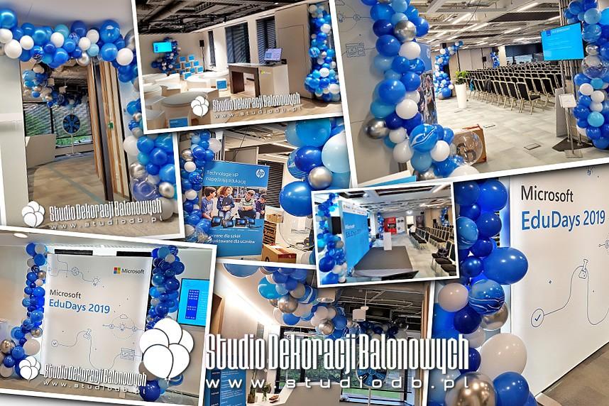 Balonowe dekoracje organiczne jako scenografia EduDays 2019 dla Microsoft