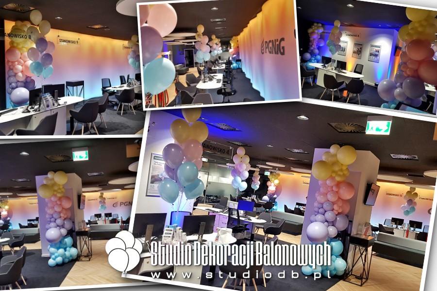 Pastelowe dekoracje balonowe na otwarciu nowego salonu PGNiG w Łodzi