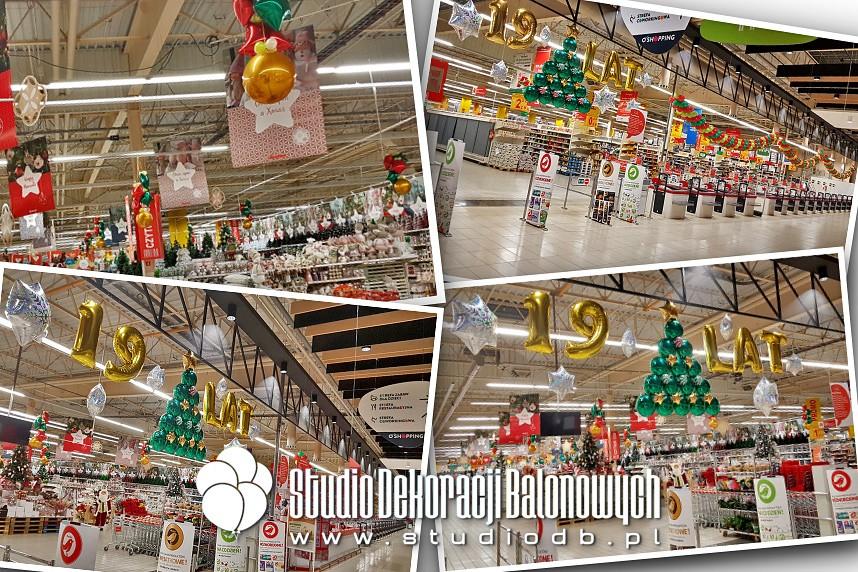 Świąteczno-Jubileuszowe dekoracje z balonów dla Hipermarketu Auchan Produkcyjna Białystok