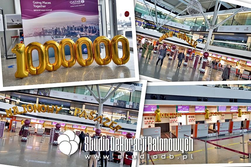 Dekoracje balonowe na lotnisku Chopina w Warszawie dla linii lotniczych Qatar Airways