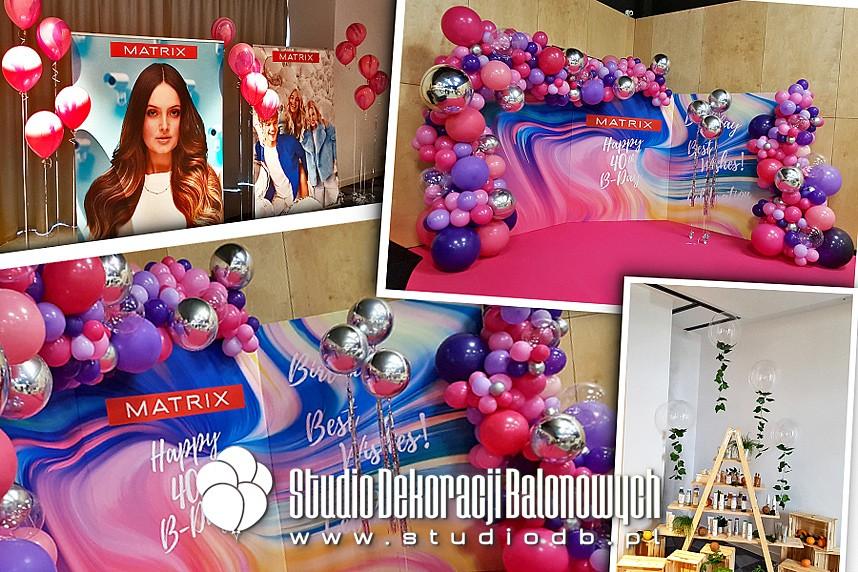 Dekoracje z balonów eventu jubileuszowego kosmetycznej marki MATRIX