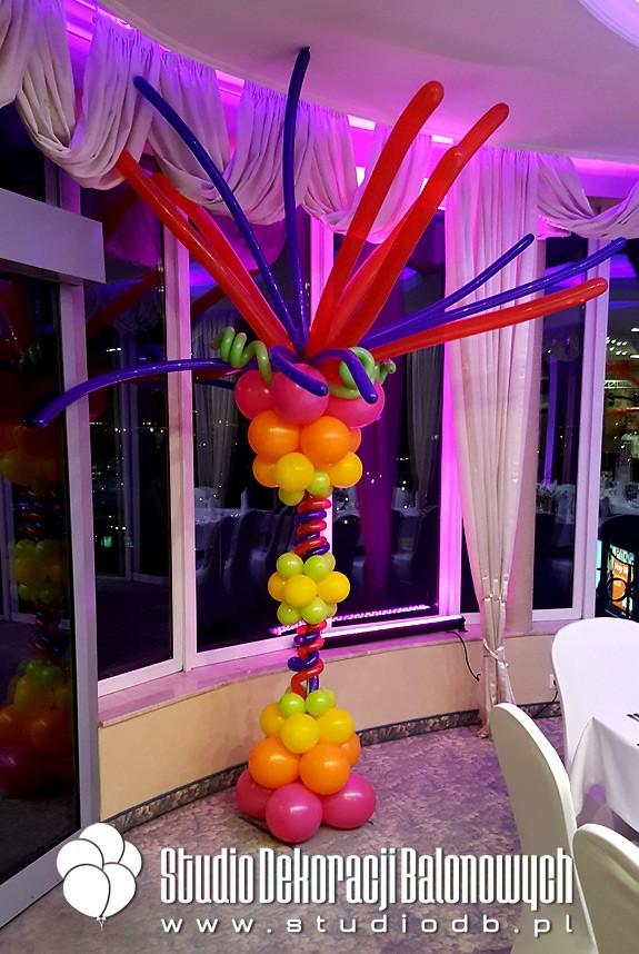 Kolumny balonowe w stylu Latino jako dekoracja imprezy urodzinowej