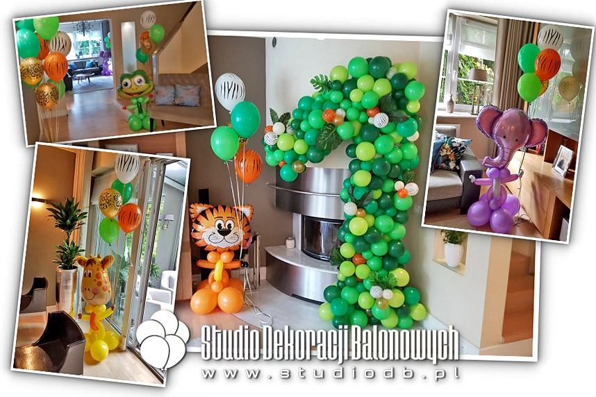 Dekoracje balonowe na roczek - dżungla