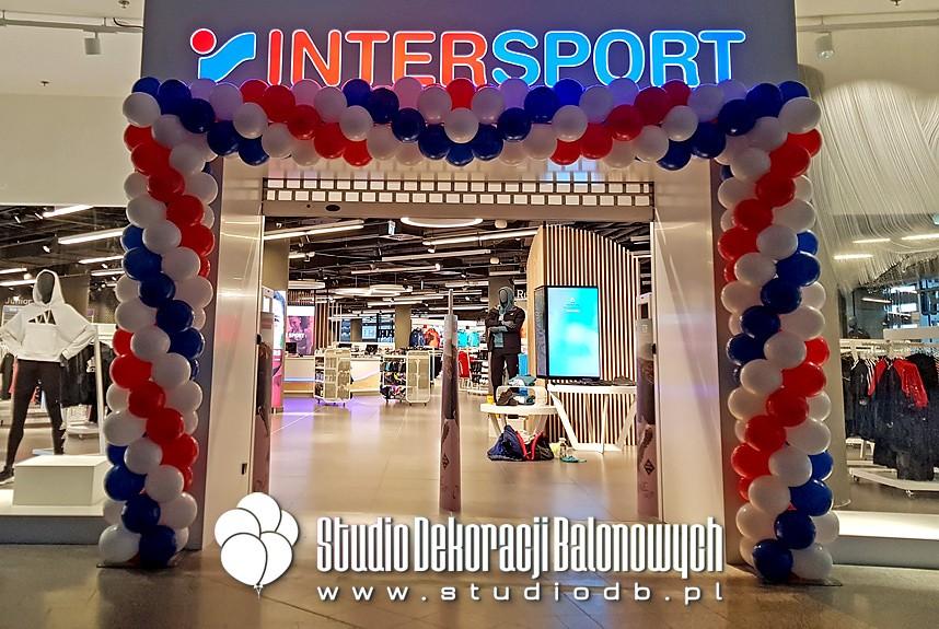 Girlanda balonowa Warszawa - Brama z balonów na otwarcie sklepu InterSport w C.H. Złote Tarasy w Warszawie