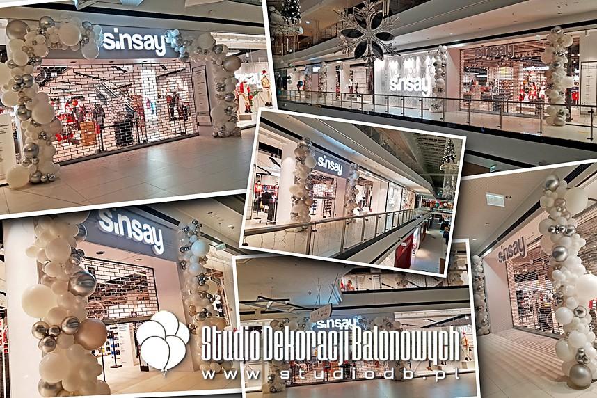 Dekoracje z balonów - Organiczne girlandy balonowe - dekoracja wejść na otwarcie największego salonu Sinsay w Polsce