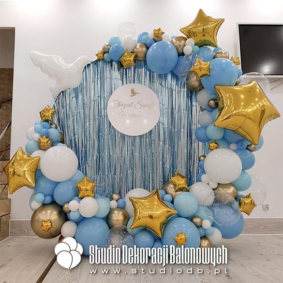 Ścianka balonowa - dekoracja na chrzest dziecka