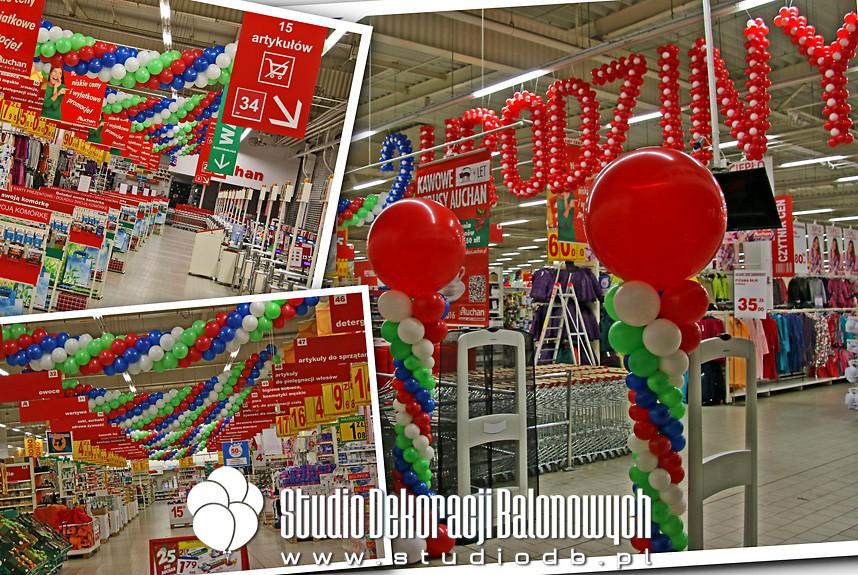Dekoracje balonowe z okazji 2 urodzin supermarketu Auchan Marki