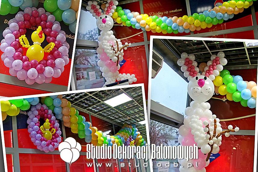 Dekoracja balonowa sklepu z okazji Świąt Wielkanocnych