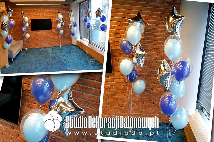 Balony z helem jako dekoracja biura