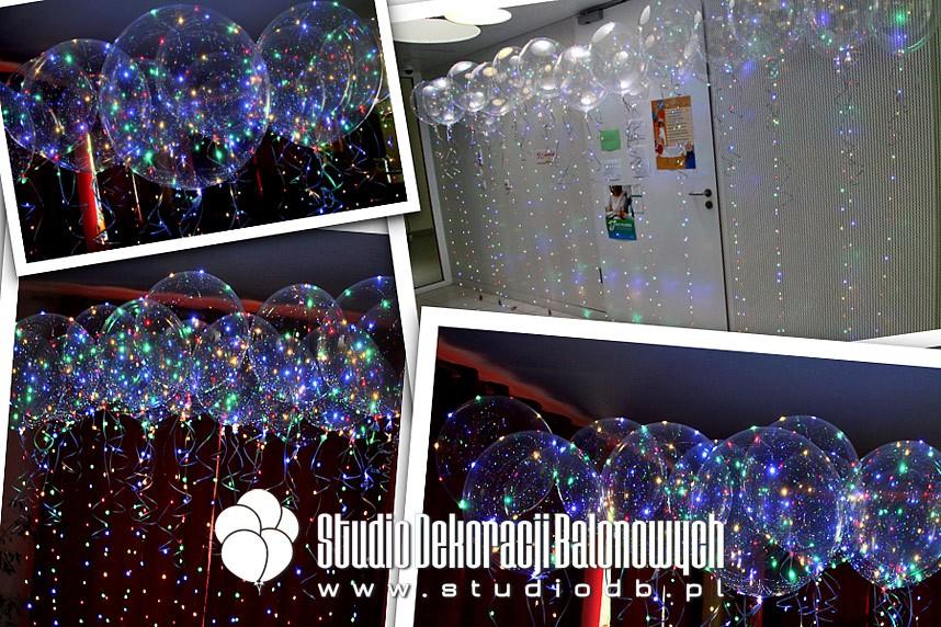 Balony transparentne z helem i ledami jako prezent dla dzieci w programie telewizyjnym