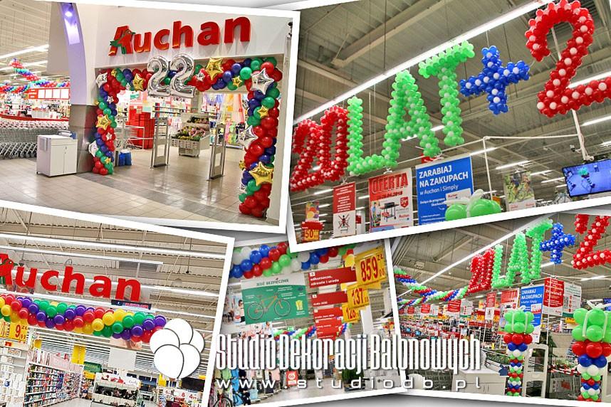 Dekoracje balonowe supermarketów Auchan w Warszawie